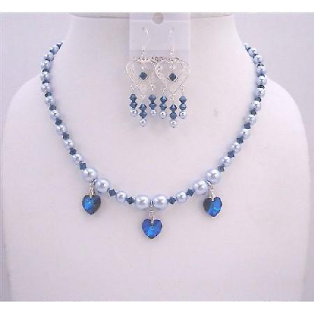 Swarovski Blue Pearls Sapphire Crystals Handcrafted Custom Jewelry Set
