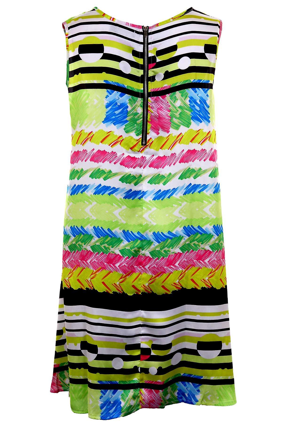 Ladies Sleeveless A-Line Shift Multicolour Stripe Print Women's Party Tunic Dress