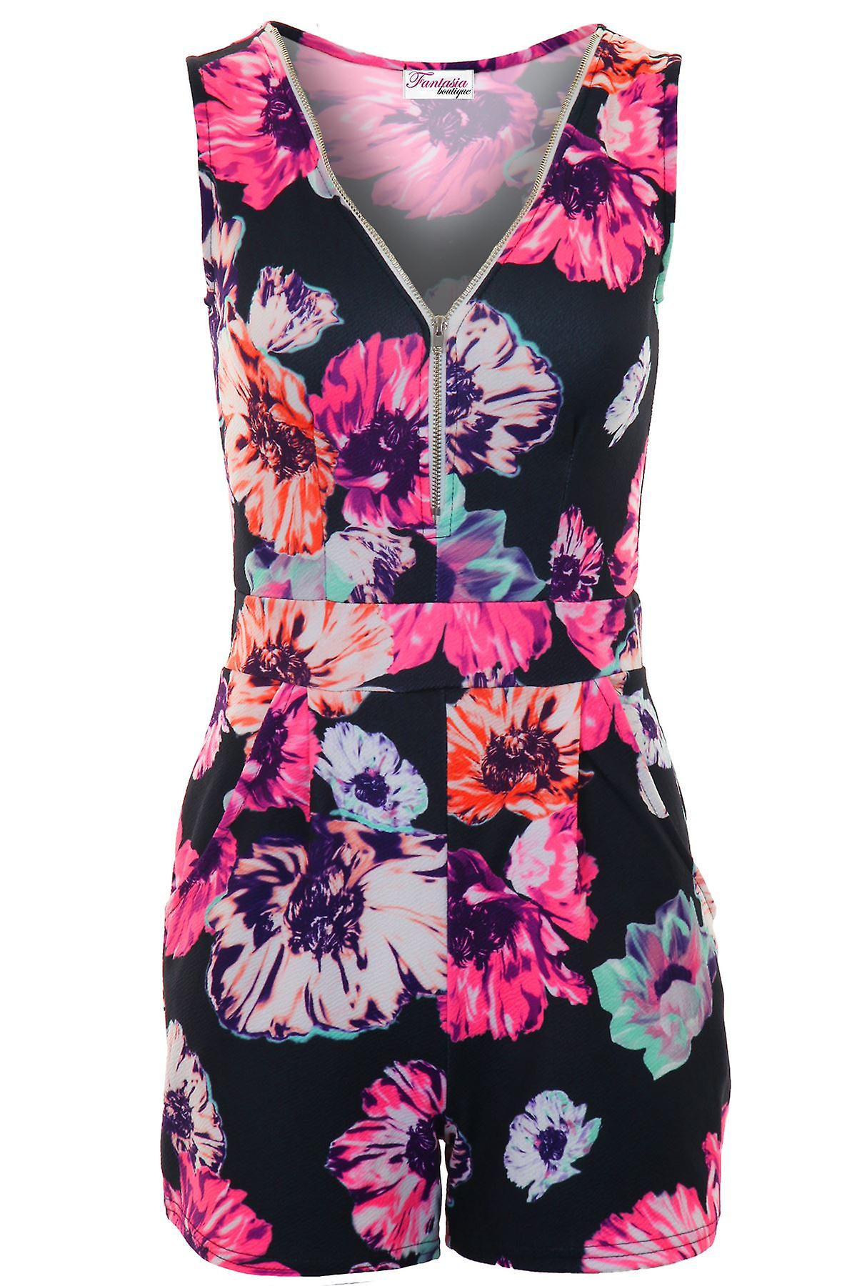 Ladies Sleeveless Zip Front V Neck Floral Pleated Crepe All In One Romper Playsuit