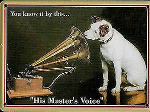 HMV Nipper  metal postcard / mini-sign     (hi)