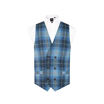 Harris Tweed Mens Blue Check Tweed Waistcoat Regular Fit 100% Wool 6 Button Double Breasted
