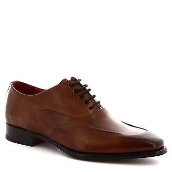 Leonardo Shoes Men's handmade oxfords shoes in delavè brandy calf leather