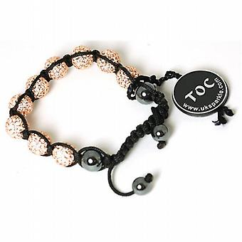 Champagne Rhinestone Disco Ball Adjustable Bracelet by The Olivia Collection