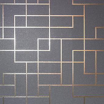Metallic Foil Square Geometric Wallpaper Grey Silver Shine Fine Decor Platinum