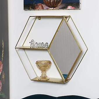 Gold Metal Wall Shelf with Mirror