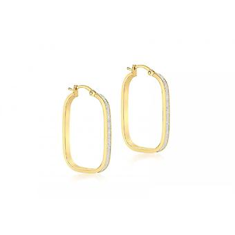 Eternity 9ct Gold Large Rectangular Stardust Creole Hoop Earrings