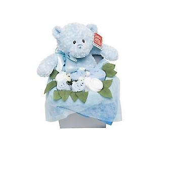 Flower Stork Teddy Bouquet Box  Blue 3 - 6 Months
