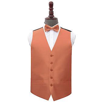 Copper Shantung Wedding Waistcoat & Bow Tie Set