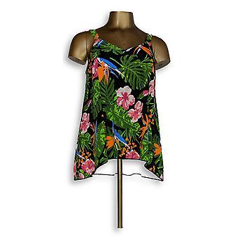 Denim & Co. Swimsuit Beach Hi-Low Tankini Top Floral Black A345640