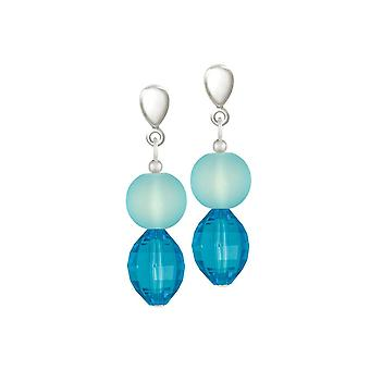 Eternal Collection Marine Turquoise Crystal And Glass Drop Pierced Earrings