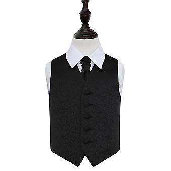 Boy's Black Swirl Patterned Wedding Waistcoat & Cravat Set