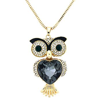 Heart Crystal Wise Owl Pendant Necklace