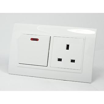 I LumoS AS Luxury White Plastic Arc Double 20A Switch with Unswitched 13A UK Socket