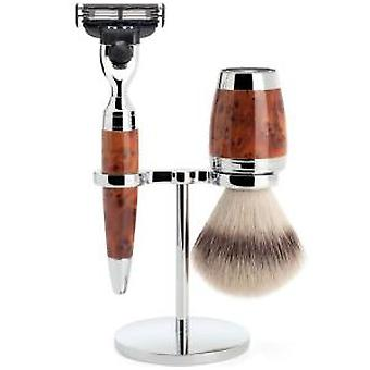 Muhle STYLO Luxury Thuya Wood 3 Piece Mach3 Shaving Set