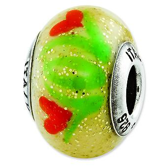 Sterling Silver Reflections Yellow With Orange Flowers Italian Murano Bead Charm