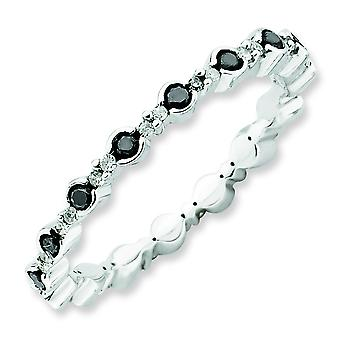 2.25mm Sterling Silver Stackable Expressions Polished Black White Diamond Ring - Ring Size: 5 to 10