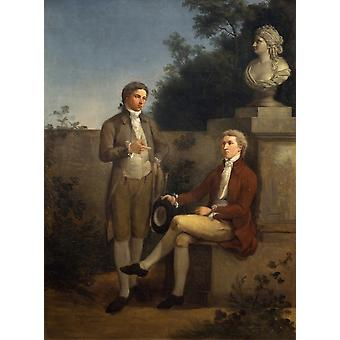 Two Young Men In The Garden Poster Print