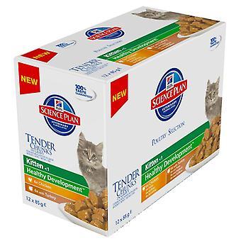 Hill's Science Plan Feline Chunks & Gravy Kitten Multipack Pouch Poultry 12x85g