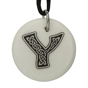 Handmade Celtic Initial Round Shaped Porcelain Pendant - Letter 'Y' ~ 36 inch Black Cord