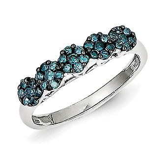 Sterling Silver Polished Prong set Open back Gift Boxed Rhodium-plated Blue Diamond Ring