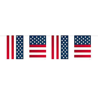 USA party Wimpel chain 10 m flags America stars and stripes party