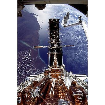 Hubble Telescope - Repair-Hubble-2-shuttle Poster Print Giclee