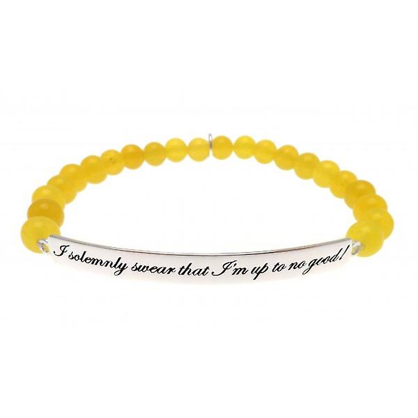 W.A.T 925 Sterling Silver 'I Solemnly Swear That I'm Up To No Good' Yellow Quote Bracelet