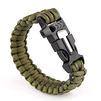Multifunction Outdoors Survival Paracord Bracelet w/ Flint Fire Starter Scraper Whistle Kit - Army Green Boolavard® TM