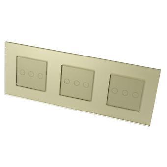 私高級ゴールド ガラス フレーム ・ ゴールド挿入 LumoS タッチ制御 LED ライト スイッチ