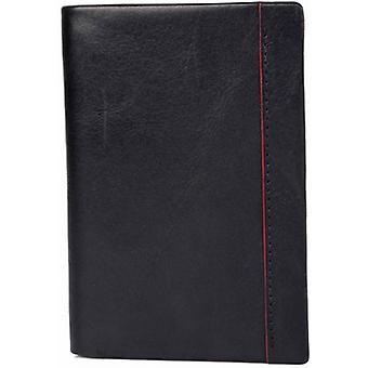 Dents Smooth Leather Contrast Colour Credit Card Holder - Black/Red