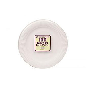 100pcs White Paper Plates Disposable 23cm Party Serving Plates