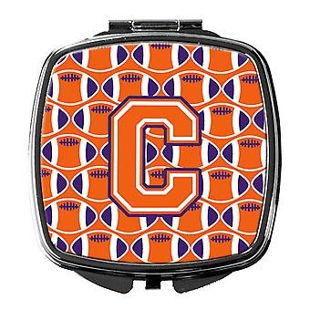 Letter C Football Orange, White and Regalia Compact Mirror