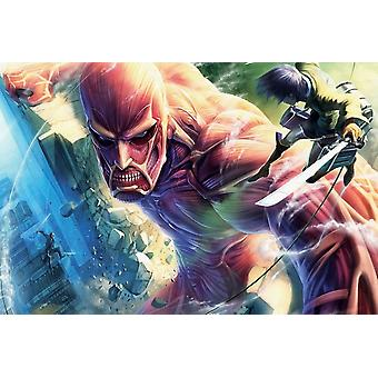Attack On Titan Cartoon Poster Poster Print