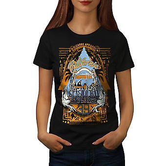 Seaside Beach California Women BlackT-shirt | Wellcoda