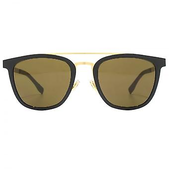 Hugo Boss Double Bridge Sonnenbrille In Schwarz-Gold