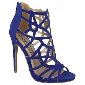 Ladies Womens New Stiletto Heel Cut Out Gladiator Zip Sandals Shoes
