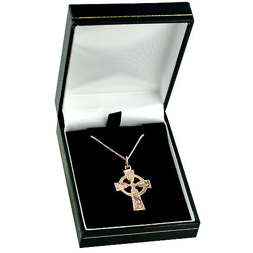 9ct Rose Gold 28x20mm hand engraved Celtic Cross with a Curb chain