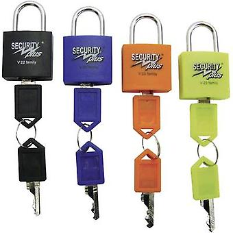 Padlock 4-piece set Security Plus V 22-4 Neon yellow, Blue, Oran