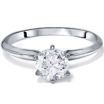1 ct Round Solitaire Diamond Engagement Ring 14K White Gold