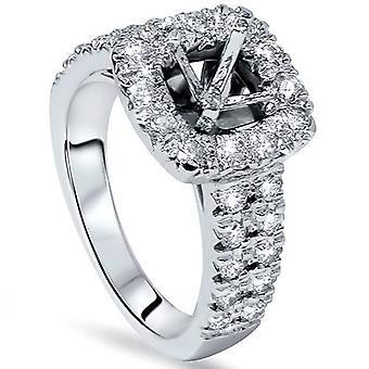 1ct Cushion Halo Engagement Ring Setting 14K White Gold