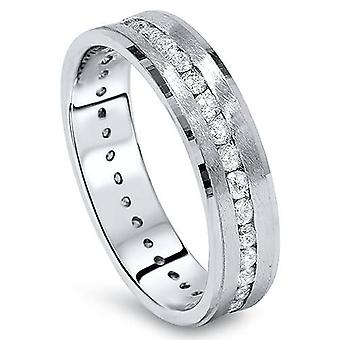 1 1/4ct Channel Set Diamond Brushed Ring 14K White Gold