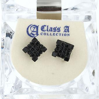 Iced out bling earrings box - CUBE 8 mm black
