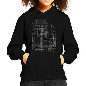 Commodore 64 Computer Schematic Kid's Hooded Sweatshirt