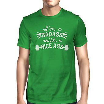 Bad Ass bello uomo verde dicendo divertente allenamento t-shirt manica corta