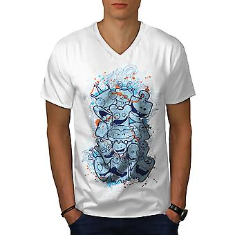 Cute Monster Head Funny Men WhiteV-Neck T-shirt | Wellcoda