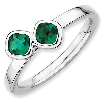 Sterling Silver Bezel Polished Rhodium-plated Stackable Expressions Db Cushion Cut Cr. Emerald Ring - Ring Size: 5 to 10