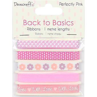 Dovecraft Back To Basics Ribbon Pack 5/Pkg-Perfectly Pink