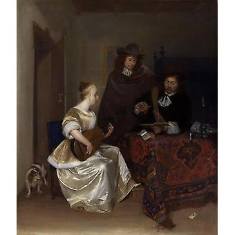 A Woman playing a Theorbo to two Men,Gerhard ter Borch,60x50cm