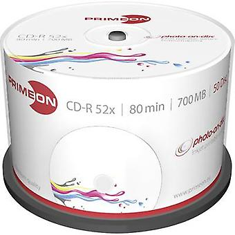 Primeon 2761105 lege CD-R 80 700 MB 50 PC (s) spindel afdrukbare