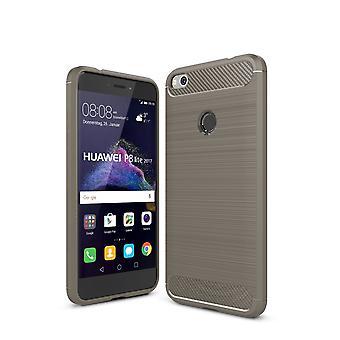 Huawei P8 Lite 2017 TPU case kolfiber optik borstad skydd täcka grå